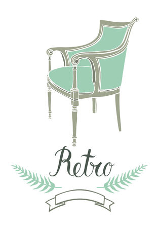 Retro card with vintage armchair in green color