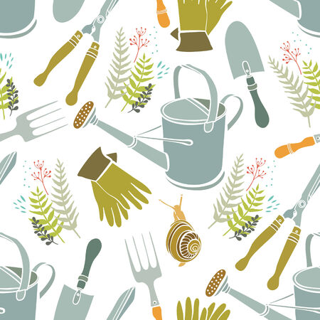 rubber glove: Spring seamless background, gardening tools and snails