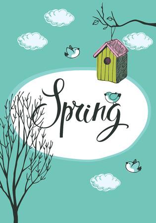 vida natural: Diseño de la tarjeta de primavera con los pájaros y las casas del pájaro, fondo azul