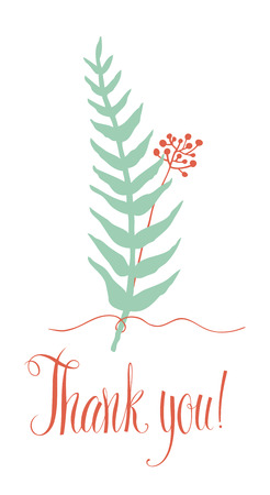 silver fern: Thank you card with fern and twig related thread Illustration