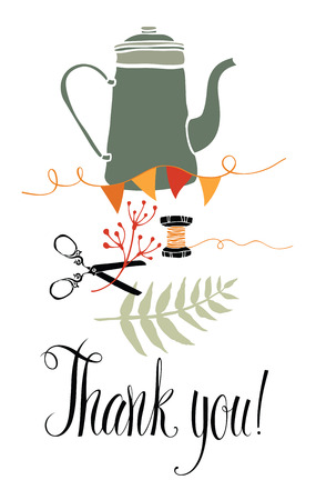 Thank you design card with kettle, scissors and fern Vector
