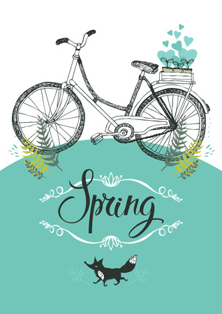 Vintage bicycle and fox, Vignette and calligraphy Vector