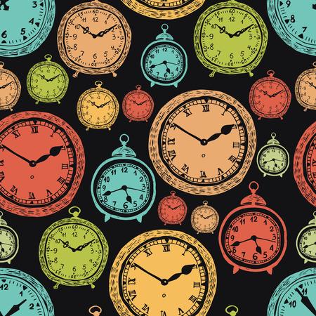 Vintage wall clocks and alarm clocks, seamless background, hand-drawn sketch