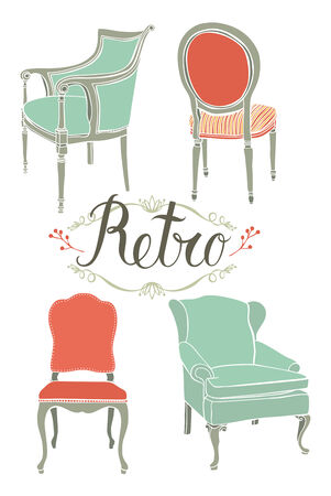 antique chair: Design card with four retro armchairs Illustration