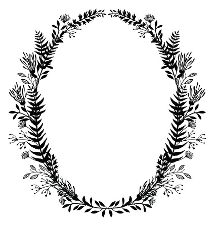 ferns: Card with oval frame of flowers and ferns, black silhouette