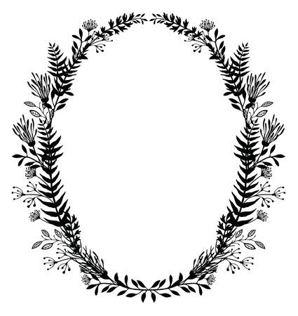 helechos: Tarjeta con marco ovalado de flores y helechos, silueta negro