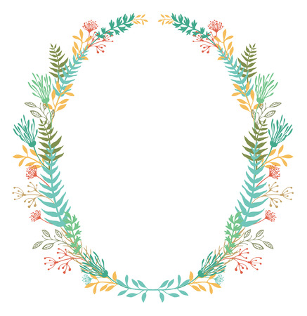 Card with oval frame of flowers and ferns Vector