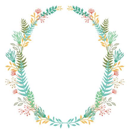 helechos: Tarjeta con marco ovalado de flores y helechos