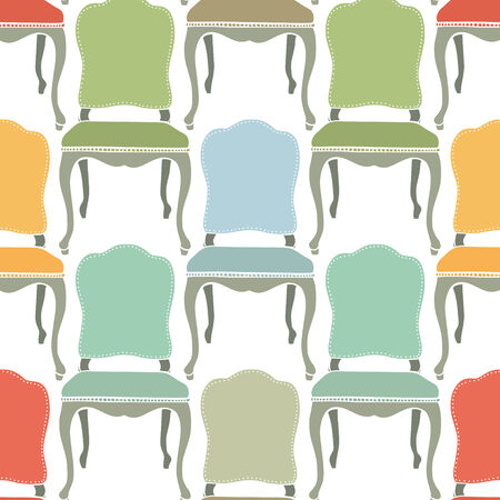 vintage chair: Retro colorful armchairs seamless background Illustration