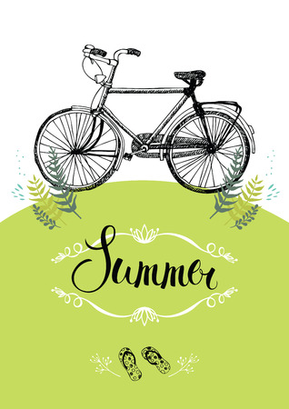 Vintage bicycle. Summer postcard with vignette and calligraphy Vector