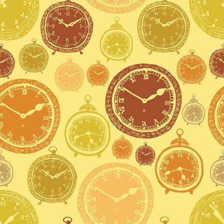Vintage wall clocks and alarm clocks, seamless gold background Vector