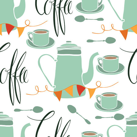 recipe card: Coffee party abstract seamless pattern