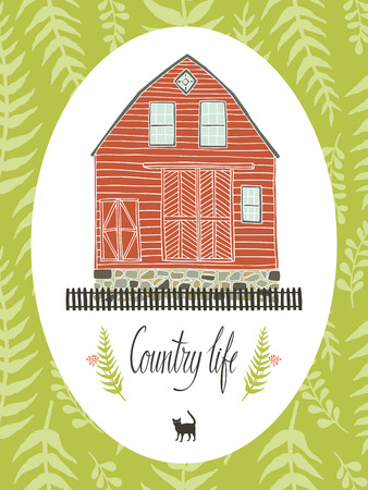 country life: Country life design card with fern leaves Illustration