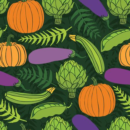range fruit: Fresh vegetables, seamless background with fern leaves Illustration
