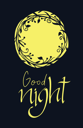 good nature: Good night, abstract design card Illustration