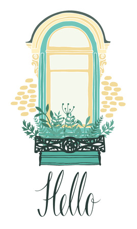 balcony window: Hello design card with a window and flowers