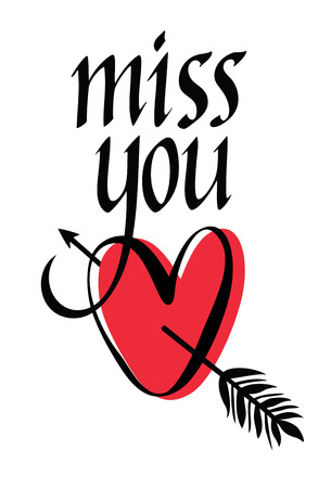 Miss you design card with heart Vector