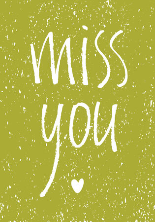 miss: Miss you vintage design card on a green background
