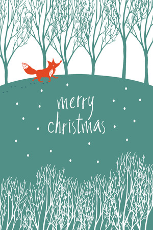 Merry Christmas card with red fox in a winter forest