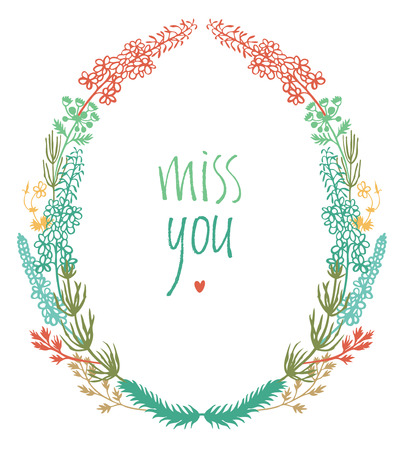 Miss you design card with colorful floral vignette and heart 向量圖像