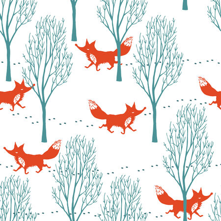 Red foxes in a winter forest seamless background Vector