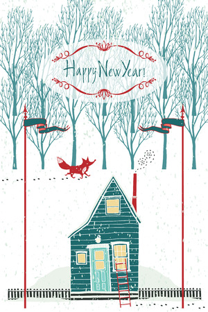 Happy New year design card with a house and a red fox in the winter forest