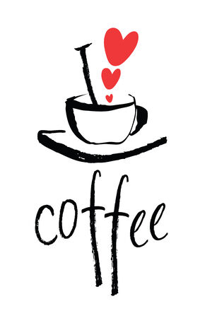 I love coffee design card with a cup Vector