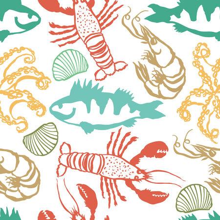 sea food: Sea Food colorful seamless pattern