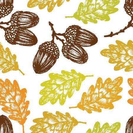 acorn tree: Autumn oak leaves and acorns seamless pattern