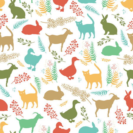 country life: Country life colorful background with ducks, cats, rabbits and goats