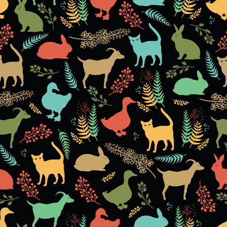 country life: Country life dark background with ducks, cats, rabbits and goats