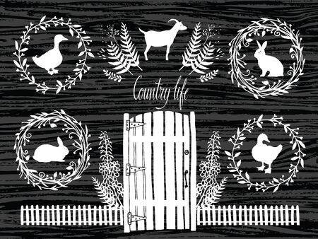 Country life design card on a dark wood background Vector
