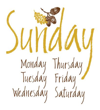 Días de la semana fijaron con hojas de roble y bellotas