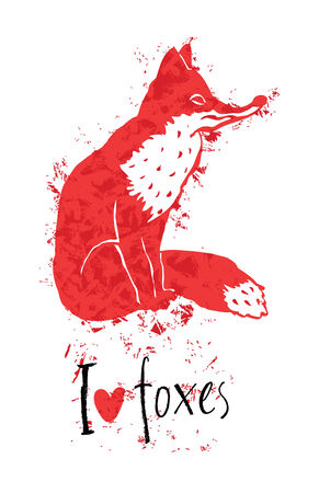 foxy: I love foxes design card with a red fox
