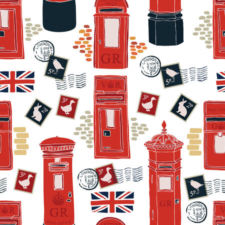 post office: Post office boxes seamless pattern