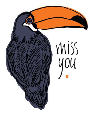 miss you: Miss you card with tropical bird