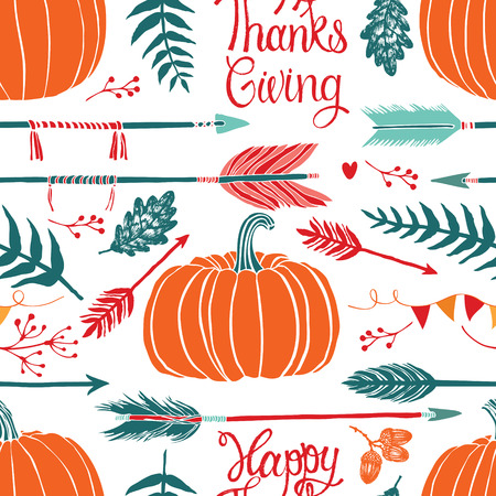 Happy Thanksgiving background with pumpkin, arrows and oak leaves
