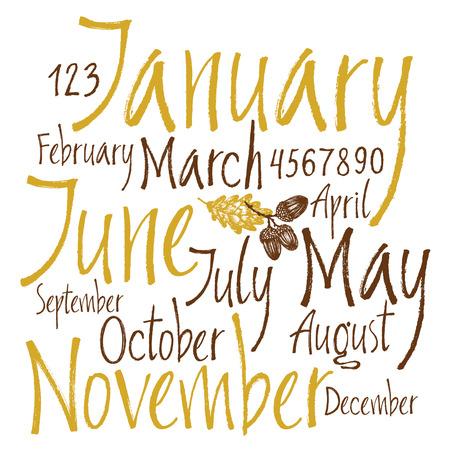 meses del año: Los meses y los números de los conjuntos caligráfica