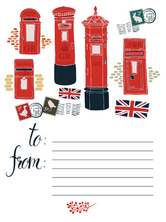 Postcard with Red Post office boxes Vector