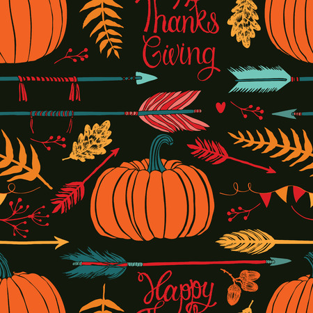 Happy ThanksGiving Autumn dark background Vector