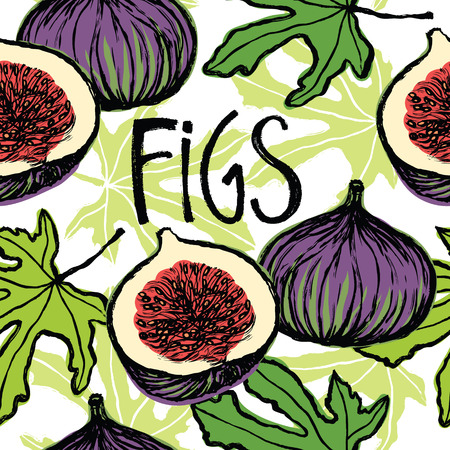 fig tree: Fruits and green leaves figs seamless pattern