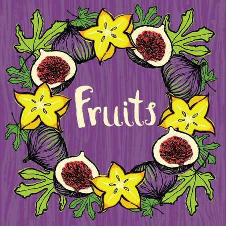 fig tree: Fruits design card Round frame of fresh carambola and fig