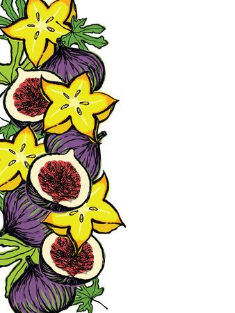 fig leaf: Fresh fruits and leaves design card Illustration