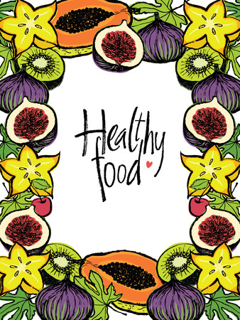 purple fig: Healthy food Design frame with fresh fruits and leaves