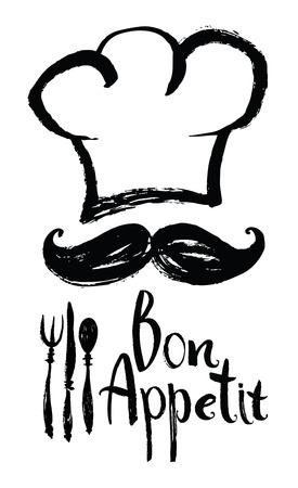 シェフの帽子と口ひげレタリング Bon Appetit デザイン カード