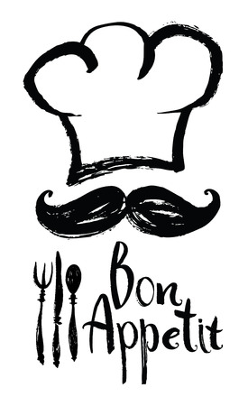 Lettering Bon Appetit Design card with chef hat and moustache Vettoriali