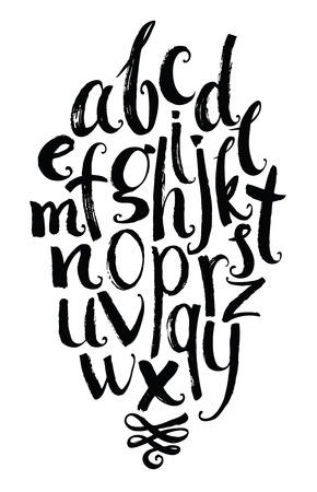 abecedario: El alfabeto del. Dibujado a mano cartas escritas con un cepillo y una viñeta Vectores