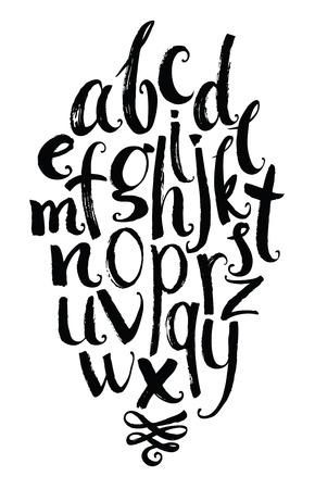 alfabeto graffiti: Vector alfabeto. Lettere disegnate a mano scritte con un pennello e vignette