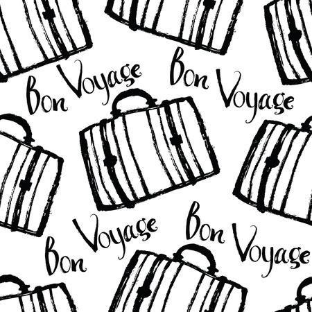 bon: Bon Voyage Background with suitcases Brush calligraphy Illustration