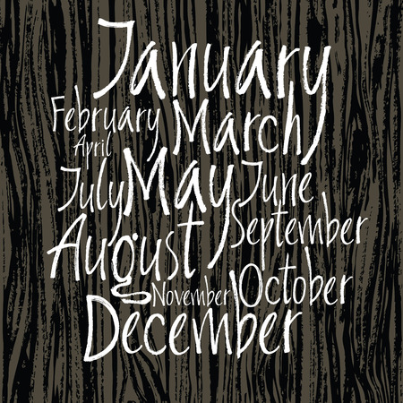 months of the year: Months of year written with a brush on dark wooden background